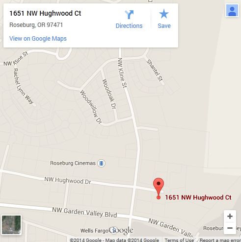 Map of dental clinic located at 1651 NW Hughwood Ct, Roseburg, OR 97471